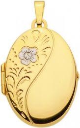 Gouden medaillon met 1 witgouden bloem.