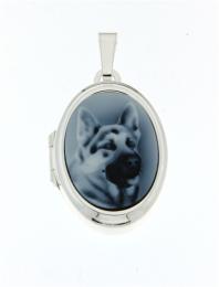 Medaillon met afbeelding van herdershond in blauwe steen