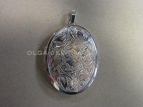 Ovaal volbloem zilveren medaillon DELUXE  34 x 44 mm