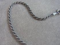 Donker zilveren koord collier 50 cm, dikte 2,5 mm