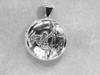 Rond echt zilveren medaillon met afbeelding Elfje