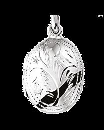 Zilveren medaillon, ovaal bewerkt 18x25